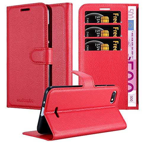 Cadorabo Hülle für Xiaomi RedMi 6A in Karmin ROT - Handyhülle mit Magnetverschluss, Standfunktion & Kartenfach - Hülle Cover Schutzhülle Etui Tasche Book Klapp Style