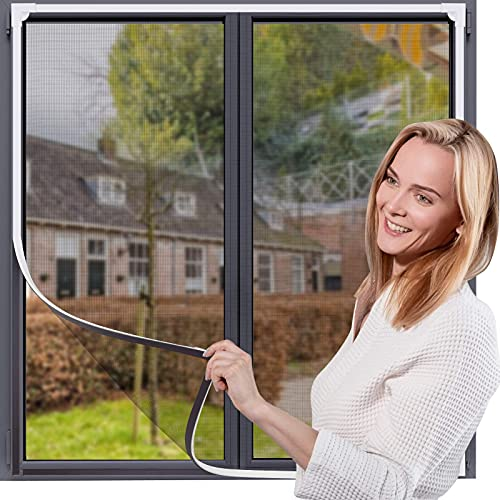 "OWYR Magnetic Window Screen Adjustable DIY Window Net Fiberglass Fine Mesh Screen Protector Fits Max 47"" H x 48""W White Window Frames"