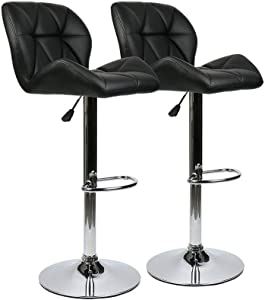 Dasuy Set of 2 Bar Stools Adjustable Counter Height Barstools Office Kitchen Leather Bar Chairs Ergonomic Swivel Bar Stool with Feet Rest (Black, B)