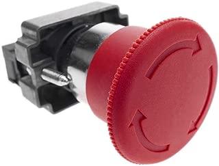 BeMatik - Pulsador de parada de emergencia 22mm 1NC 400V 10A con bloqueo con seta de 40mm