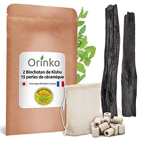 Orinko – 2 auténticos Binchotan de Kishu (Issus de roble, Ubame) y 15 perlas de cerámica para purificar el agua del grifo [Satisfacto o acolchado]