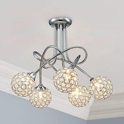 Saint Mossi Moderno lampadario in Cristallo Acciaio Inox 5 Luce Braccio Twis Illuminazione Lampadine G9 Richieste Lampada
