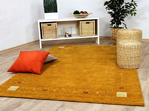 Theko Natur Teppich Indo Gabbeh Indira Rost Orange in 8 Größen