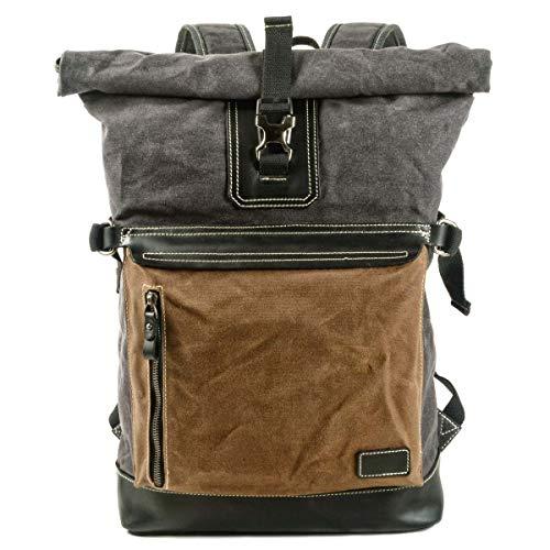 VZVABAG Mochila Roll Top Daypack Vintage impermeable lona & cuero Unisex Mochila de mensajero senderismo viaje escuela mochila mochila