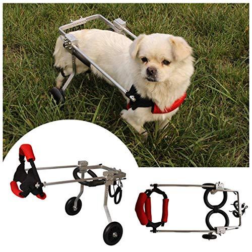DYB Mascotas discapacitadas Perro pequeño Silla de Ruedas Mediano/pequeño Perro Anciano Gato Scooter Carro para Perro para Pata Trasera (1-20 kg) (Tamaño: XS)