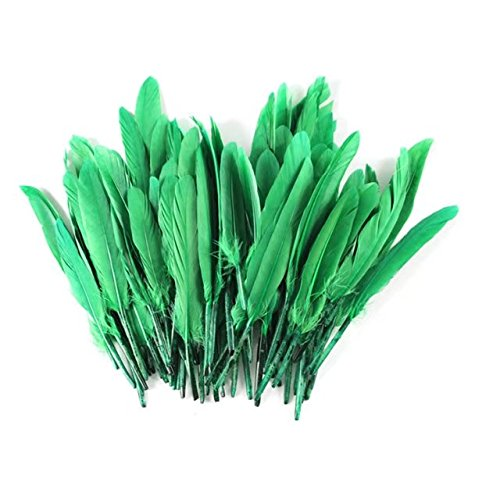 Celine lin 100PCS Dyed Home Decor Goose Feather For Art,Home Party or Wedding 4-6inch,Grassgreen