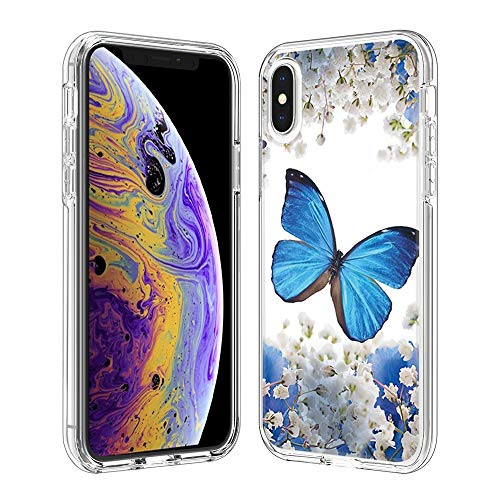Coque iPhone XS Max(6.5 inch), Silicone Bumper, Transparent PC + TPU Hybride Boîtier de Protection avec Carte de Mode (Papillon Bleu)