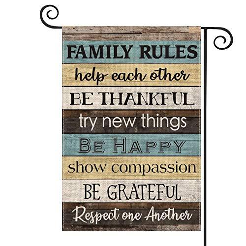 Family Rules - Bandera de madera para jardín vertical de doble tamaño, ayuda a cada otro respeto, decoración al aire libre, 30 x 45 cm