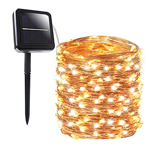 BHCLIGHT Solar String Lights, 200 LED Waterproof Solar Lights Outdoor, 8 Modes Solar Fairy Lights Indoor/Outdoor Decoration String Lights for Garden, Yard, Patio, Lawn, Party, Wedding (Warm White)