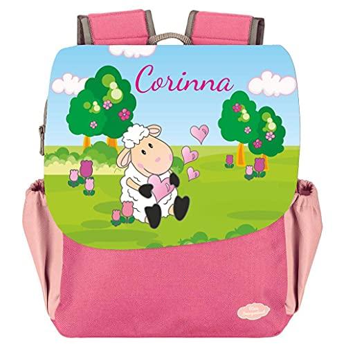 Mein Zwergenland Kindergartenrucksack Happy Knirps Next Print mit Name Schaf, 6L, Pink