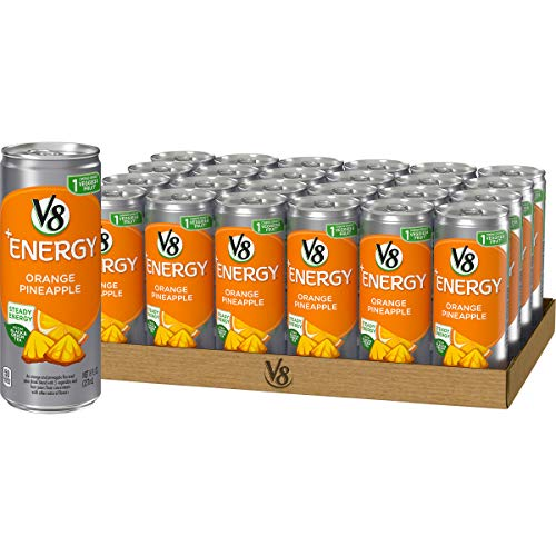 V8 +Energy, Healthy Energy Drink, Natural Energy from Tea, Orange Pineapple, 8 Ounce Can (Pack of 24)