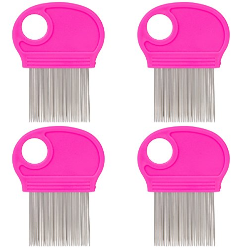 4 Pack Lice Combs Nit Remover with Metal Teeth and Magnifier Tool for Hair and Head Pink