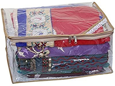 Kuber Industries™ Saree Cover Full Transparent with Capacity of 10-15 Sarees (Golden Lace)