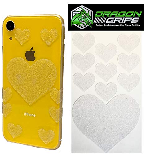 Dragon Grips Tactical Rubber Grip Tape Cute Heart Sticker Decals for Cell Phone iPhone Laptop Tablet Crafts tumblers Coffee Mugs (Clear)