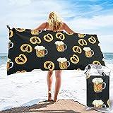 Toalla de Playa Toalla de baño Toalla de impresión Exquisita Linda Toalla de impresión de Cerveza Pretzel Palo de Toalla