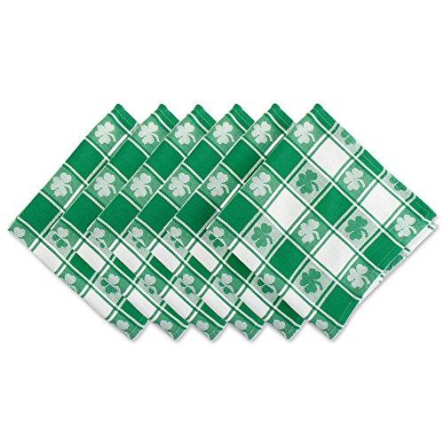 DII 100% Cotton, Oversized Basic Everyday 20x 20' Napkin, Set of 6, Green & White Check with Shamrock
