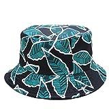 PPSTYLE Summer Bucket Cap Orange Print Hat Hip Hop Gorros Fishing Fisherman Hat-Verde