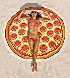 "meanbeauty Beach Mat Pizza Outdoor Travel 63"" Super Thin Round Towel Shade Waterproof for Summer"