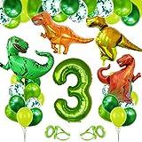 Decoracion Cumpleaños Dinosaurios, Globo Numero 3 Verde, Globos Dinosaurios, Globos de Cumpleaños 3 Años, Globos Grandes Gigantes Helio, Globos para Fiestas de Cumpleaños