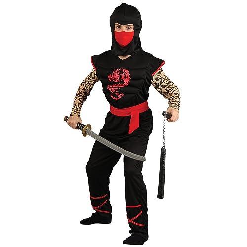 BOY/'S BLACK//RED NINJA ASSASSIN FANCY DRESS COSTUME