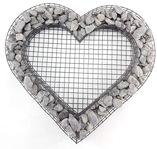 Gartenwelt Riegelsberger Herz Gitter mit kleinen Ice Blue Steinen für Allerheiligen Grabschmuck Grabgestaltung Grabdeko Pflanzschale