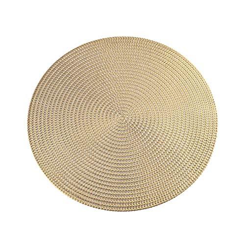 Feli546Bruce Platzdeckchen, rund, rutschfest, isoliert, Untersetzer, Untersetzer für Restaurant, Esstisch, PVC plastik, gold, Einheitsgröße