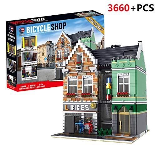 PEXL Haus Bausteine Bausatz, Fahrradladen Modular Architektur Modell, 3600 Klemmbausteine und 6 Minifiguren, Kompatibel mit Lego Stadthaus