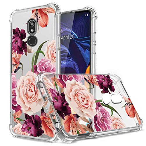 Osophter LG Stylo 5V Case,LG Stylo 5 Case,Stylo 5 Plus Case Flower Floral for Girls Women Shock-Absorption Flexible TPU Rubber Soft Silicone Cell Phone Cases for LG Stylo 5/5v/5 Plus(Purple Flower)