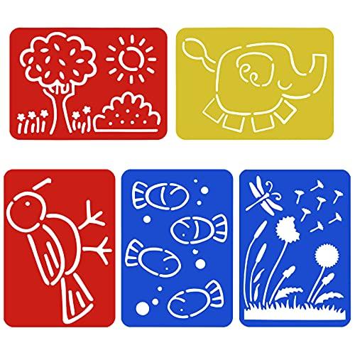 HQdeal 5Pcs Schablone kinder, Tiere Pflanze Malschablonen, aus Kunststoff, Zeichnung Schablone Template Set, Wiederverwendbar Kunst Schablonen, Malen Vorlagen für Sammelalbum DIY Geschenkkarten