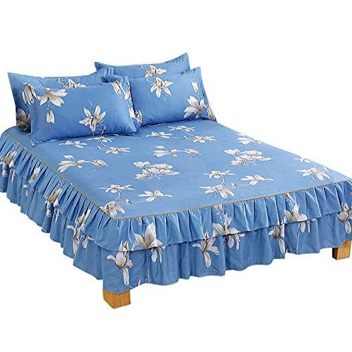 NCONCO Juego de 3 piezas con volantes plisados para cama, sábanas, fundas de almohada transpirables (cama de 1,5 m)
