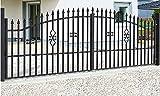 SO2 Einfahrtstor Hoftor Doppelflügeltor Gartentor Bellevue mit Riegelset 400 x 150 cm Komplett-Set...
