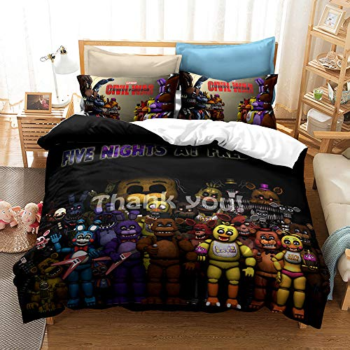 Enhome Duvet Cover Bedding Set for Single Double King Size Bed, 3D Halloween Print Microfiber Duvet Set Quilt Case with Pillowcases (Five Nights at Freddy's4,135x200cm(2pc))