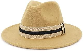 WUNONG-AU 2019 Men's and Women's Autumn and Winter Fedora Hat Couple Dating Outdoor Humboldt Travel Woolen Hat Wide Side Jazz Cap (Color : Khaki, Size : 56-58CM)