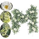Rcbmn künstliche Eukalyptus-Girlande mit Champagnerrosen, grüne Girlande, Eukalyptusblätter, Hochzeitsdekoration, Wanddekoration (Eukalyptusgirlande mit Rosen)