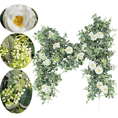 Artificial Eucalyptus Garland with Champagne Roses Greenery Garland Eucalyptus Leaves Wedding Backdrop Wall Decor (Eucalyptus Garland With Roses)