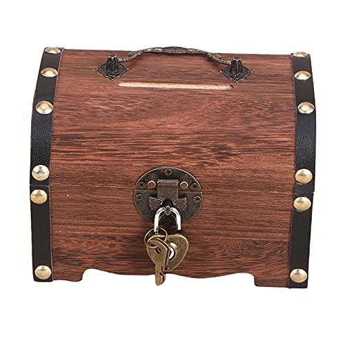 F Fityle Caja de Almacenamiento de Cofre del Tesoro de Madera Retro, Organizador de Caja de Monedas de Madera Vintage con candado y Llaves para niños Adultos