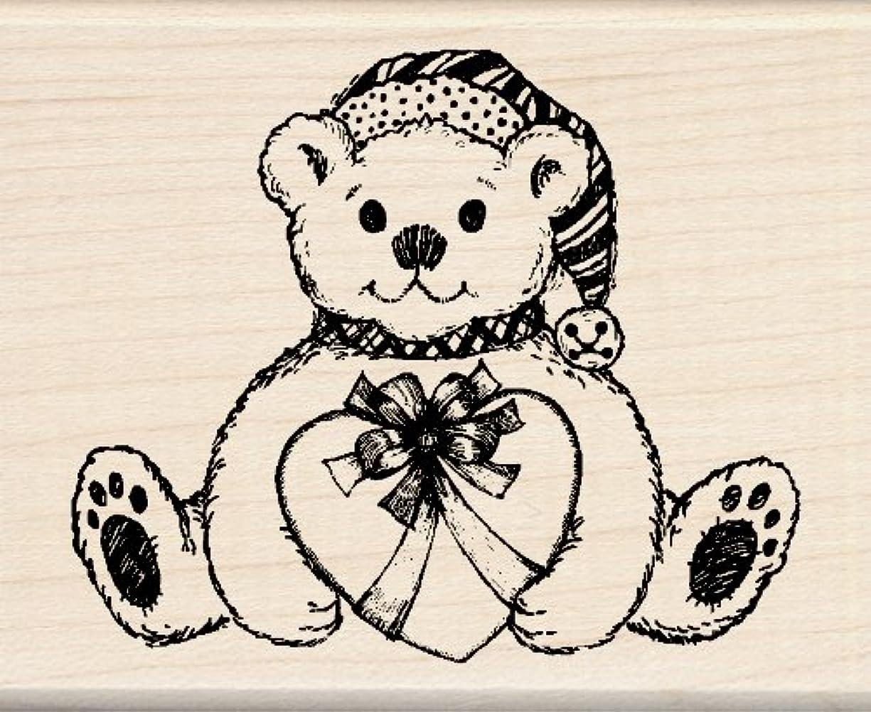 Inkadinkado Wood Teddy Bear Christmas Stamp for Decorating Christmas Cards, 2.25'' L x 2.75'' W