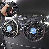 PORAXY 車載扇風機 改良版2代目 4インチ 車載ファン 熱対策 電動ファン低騒音 無段階風量調節可能 角度調整可能 ツーファン付き 汎用タイプ 夏対策 DC12V車用 日本語マニュアル付き