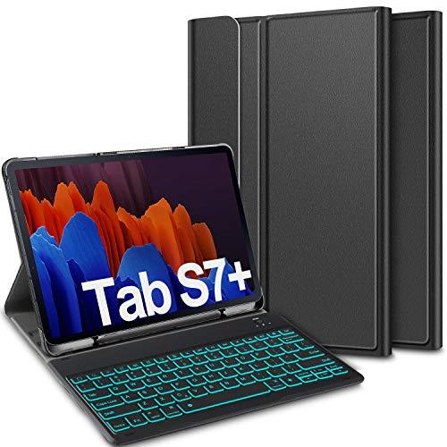 ELTD Tastatur Hülle für Samsung Galaxy Tab S7 Plus (Deutsches QWERTZ),Hülle mit 7 Farben LED-Hintergrundbeleuchtung Kabellose Tastatur für Samsung Galaxy Tab S7+ / S7 Plus 12,4 Zoll 2020, Schwarz