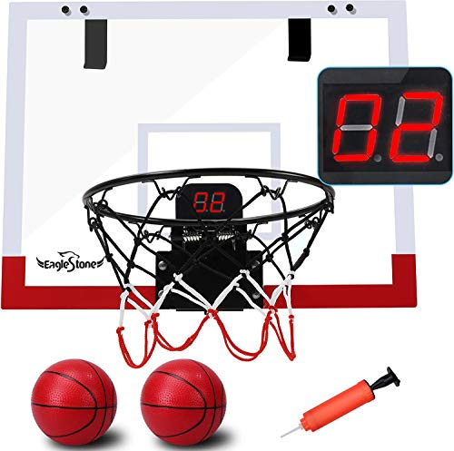 EagleStone Indoor Mini Basketball Hoop Set for Kids with Electronic Score Record and Sounds, Basketball Hoop Over The Door with 2 Balls, Hand Pump Basketball Toy Gifts for Boys Teens Adults