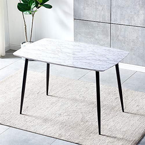 White Eiffel Design Wooden Dining Table for 4-6 People, 120cm Rectangle Kitchen Table with Black Metal Legs for Small Spaces