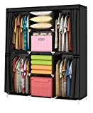 YOUUD Wardrobe Storage Closet Clothes Portable Wardrobe Storage Closet Portable Closet Organizer Portable Closets Wardrobe Closet Organizer Shelf Wardrobe Clothes Organizer Standing Closet Black