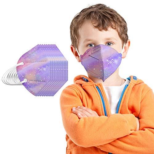 Aujelly Kinder Mundschutz, 5 Lagige Mund und Nasenschutz, Staubdicht Mund-Nasen Bedeckung Atmungsaktiv Stoff Bandana Mund-Nasen-Schutz mit Nasenclip (Lila, 25 Stück)