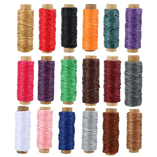 Best Deals! 990 Yards Leather Sewing Waxed Thread - 150D 55Yards Per Spool Stitching Thread for Leat...