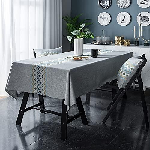Nuevo Mantel de Lino de Color sólido para Hotel, Mesa de Picnic, Mantel Rectangular, hogar, Restaurante, Mesa de café, decoración C5 140x240cm