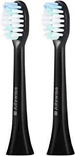 AODD Replacement Brush Heads, 2 Pack Electric Toothbrush Heads, soft and safe, W-shape bristles design, Easy to clean, Durable, Easy to operate, for Alfawise S100 sonic electric toothbrush (Black)