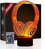 Cadeau de noël casque 3D illusion lampe veilleuse à côté de la lampe de table, Jawell 16 couleurs changement automatique interrupteur tactile lampes de bureau cadeau d'anniversaire avec télécommande