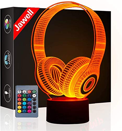 Christmas Gift Headset 3D Illusion Lamp Night Light Beside Table Lamp, Jawell 16 Colors Auto Changing Touch Switch Desk Decoration Lamps Birthday Present with Remote Control
