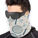 ShiHaiYunBai Tour de Cou Cagoule Microfibre Chapeaux Tube Masque Visage, Badminton Set Pattern Men Women Face Masks Head Wrap Neck Warmer Windproof Mask