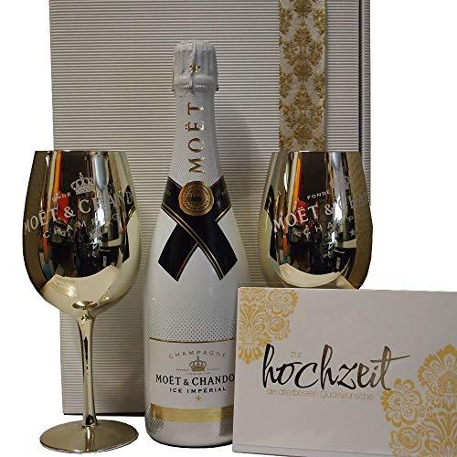 Moet & Chandon Ice Geschenk-Set mit Champagnergläsern und passender Hochzeitskarte
